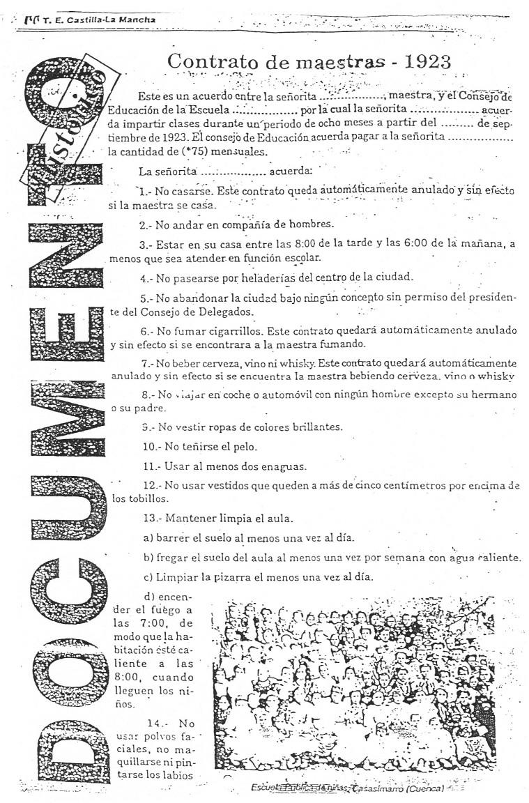 Contrato de maestras 1923 materiales para la convivencia for Contrato para empleada domestica